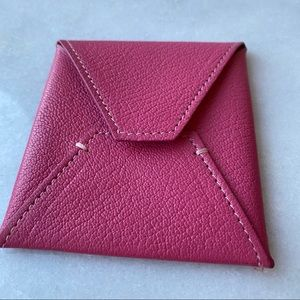 Pink Leather Square Business Card Case